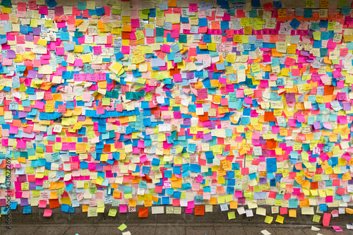 Sticky post-it notes in NYC subway station Poster
