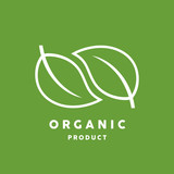 Organic product logo with white leaf icon isolated on green background. Vector illustration.
