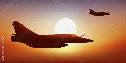 Poster Avion de chasse - Coucher de soleil