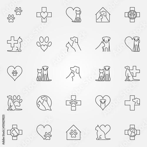 Fototapeta Veterinary icons or logo elements