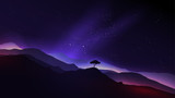Starry Night in the Mountains with a Lone Tree - Vector Illustra