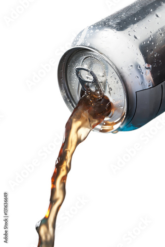 Poster pouring soft drinks in can