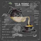 White Tea Time card with cup, teapot  and  leaves.