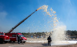 firefighters demonstration of fire fighting equipment.