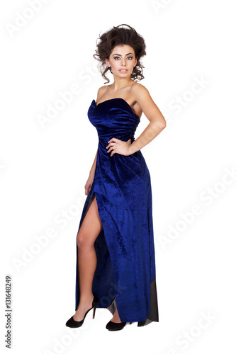 Poster beautiful brunet woman in blue evening dress isolated in white background