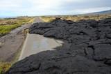 Road closed by lava flow, Big Island, Hawaii