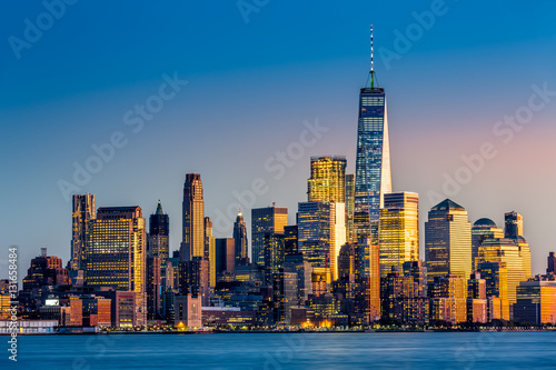 Lower Manhattan at sunset viewed from Hoboken, New Jersey Poster