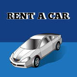 Illustration of rent a car, car icons, vector.