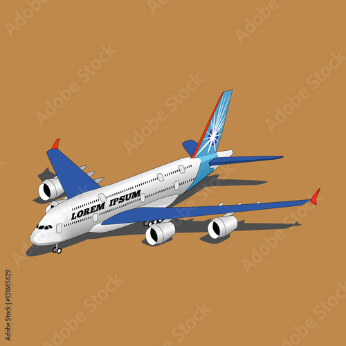 Poster Isometric White Airplane landed.