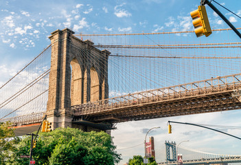 Brooklyn bridge. The bridge is often featured in wide shots of the New York City skyline in television and film. Splittoned vivid image.