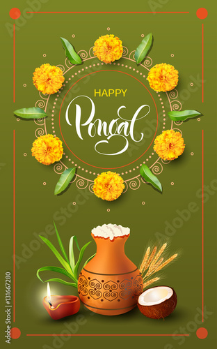 Greeting card with traditional mud pot for indian harvest festival greeting card with traditional mud pot for indian harvest festival pongal makar sankranti background m4hsunfo