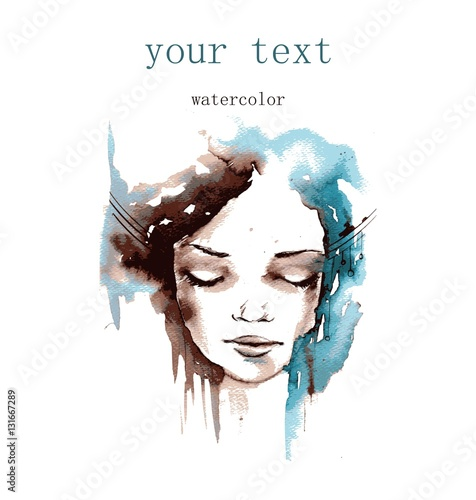 Foto op Canvas Schilderkunstige Inspiratie Vector illustration watercolor. Abstract illustration depicting a portrait of a woman.