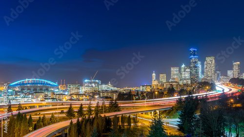 The light of downtown Seattle at night - 131673824