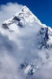 Summit of Mt. Ama Dablam from route to Cho La, Himalayas, Solu Khumbu, Nepal