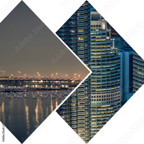 Poster Collage of Singapore city at night