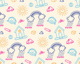 kid doodle seamless background - 131686066