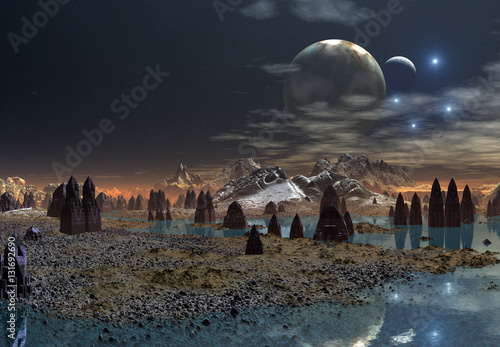 Plexiglas 3d Created and Rendered Fantasy Alien Planet - Illustration