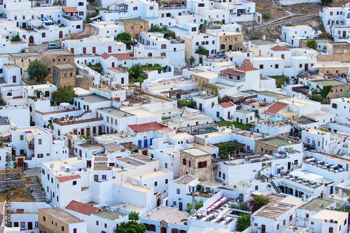 Lindos view from the top of white houses, Greece, the island  Rhodes,