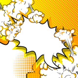 Vector illustrated speech bubble on comic book background.