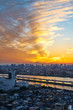 Asia Business concept for real estate and corporate construction - vertical modern cityscape building bird eye aerial view with Mount Fuji under sunrise and morning blue bright sky in Tokyo,Japan