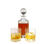 Crystal decanter with whiskey and glasses