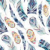 Watercolor ethnic feathers seamless pattern - 131700678