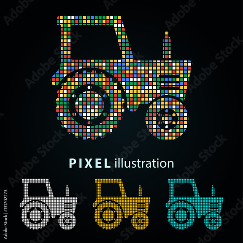 Poster Tractor - pixel illustration.