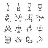 Wine line icons set - 131703400