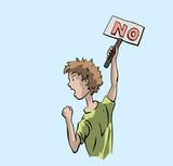 Jongen is boos - protest