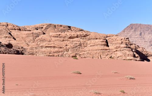 Poster Red sand dune and desert landscape, Wadi Rum, Jordan