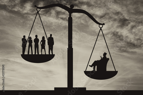 Poor people and wealthy businessman on scales Poster