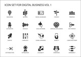 Digital business vector icon set - 131720899