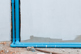 water pipe pvc plumbing under cement wall in construction site - 131725887