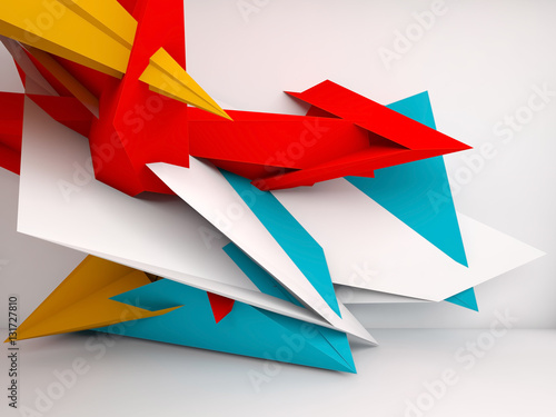 3d colorful chaotic polygonal installation © evannovostro