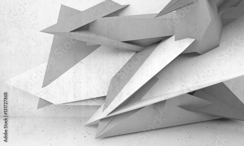 Abstract white concrete interior 3d © evannovostro