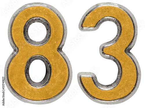 Poster Metal numeral 83, eighty-three, isolated on white background