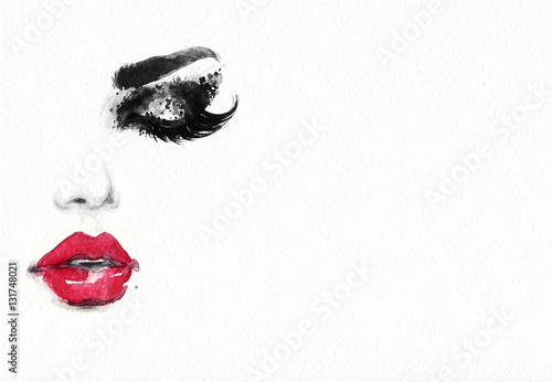 Fotobehang Anna I. Beautiful woman face. Fashion watercolor illustration. Beauty background