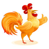 Rooster cartoon character for New Year 2017; Funny colorful Cockerel; Vector drawing Eps8