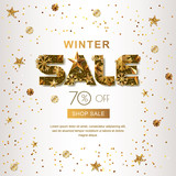 Winter sale banners with 3d gold stars and snowflakes. Vector winter holidays poster, golden white background. Layout for discount labels, flyers and shopping.
