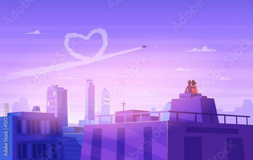 Fototapeta samoprzylepna Boy and girl look over cityscape. Romantic day. Vector cute illustration.