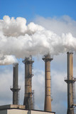Four factory smokestacks with steam and smoke billowing out. Vertical composition.