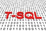 T SQL binary code, 3D illustration