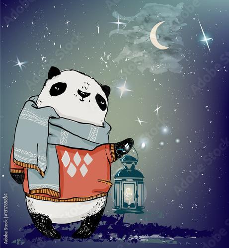 cute winter panda bear