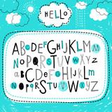 Fototapety Cute kids alphabet design. Hand drawn doodle abc. Set of varied letters. Vector.