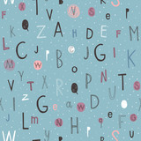 Kids pattern of letters in doodle style. Stylish alphabet seamless background.