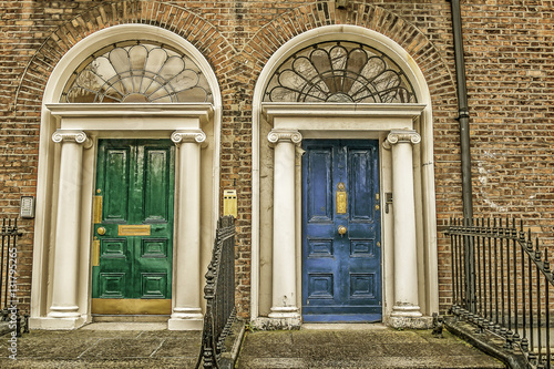Green and blue doors in Dublin Poster