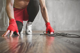 Boxer jump rope training, strength workout concept - 131799478