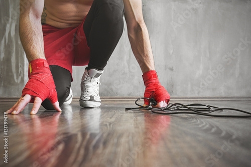 Boxer jump rope training, strength workout concept Poster