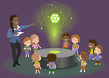 Hologram carbon atom physics teacher explains to children. Vector