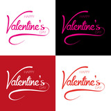 Inscription: happy valentine's day - set vector isolated text ( love , romantic , valentine )